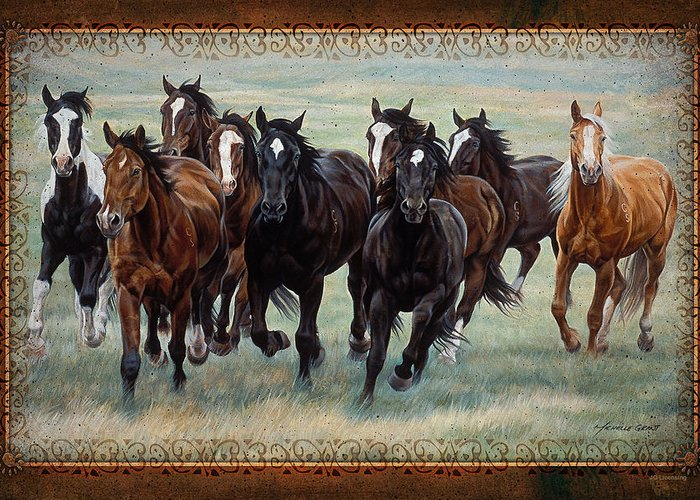 Michelle Grant Greeting Card featuring the painting Deco Horses by JQ Licensing