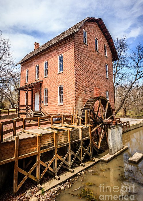 1800's Greeting Card featuring the photograph Deep River Grist Mill In Northwest Indiana by Paul Velgos