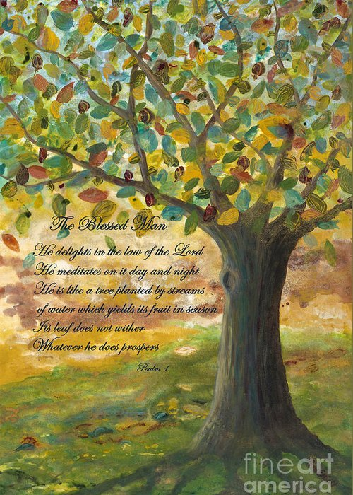 Tree Greeting Card featuring the painting Deep Roots-with Scripture by Mona Elliott