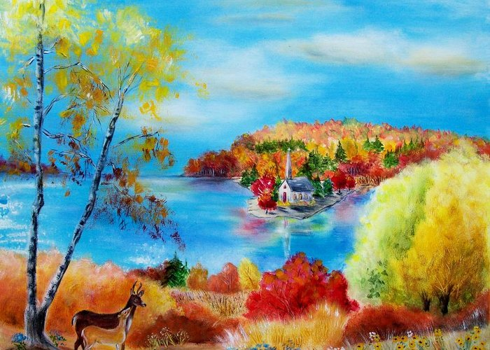 Autumn Greeting Card featuring the painting Deer And Country Church Autumn Scene by Melanie Palmer