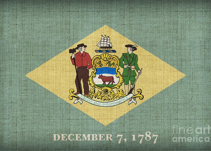 Delaware Greeting Card featuring the painting Delaware State Flag by Pixel Chimp