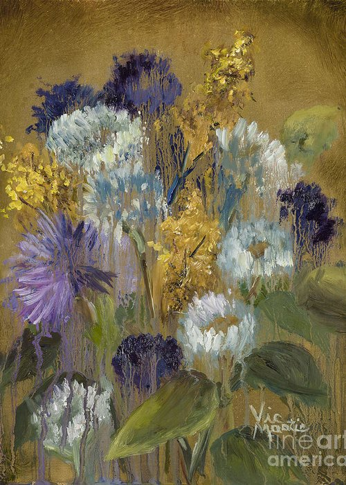 Flower Greeting Card featuring the painting Delicate Aroma II -unfarmed-with Gold Leaf By Vic Mastis by Vic Mastis
