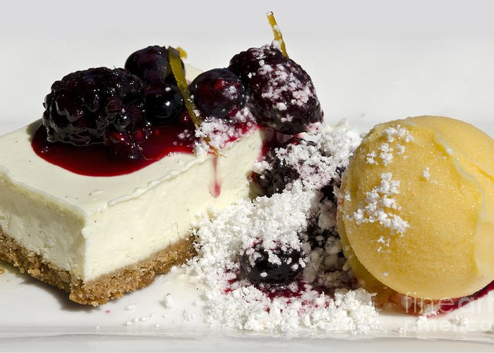 Cheese Cake Greeting Card featuring the photograph Delicious Dessert by Sheldon Kralstein