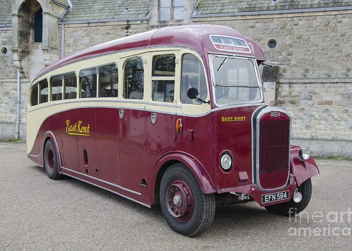 Bus Greeting Card featuring the photograph Dennis Lancet Vintage Bus by Steev Stamford
