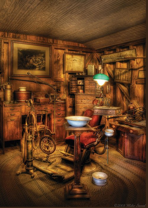 Dentist Greeting Card featuring the photograph Dentist - The Dentist Office by Mike Savad