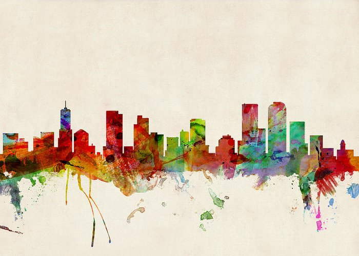Watercolour Greeting Card featuring the digital art Denver Colorado Skyline by Michael Tompsett