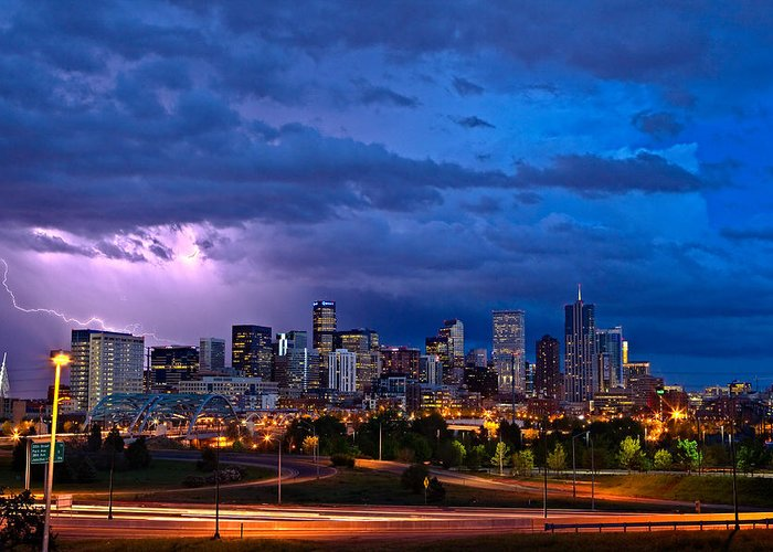 Landscape Greeting Card featuring the photograph Denver Skyline by John K Sampson