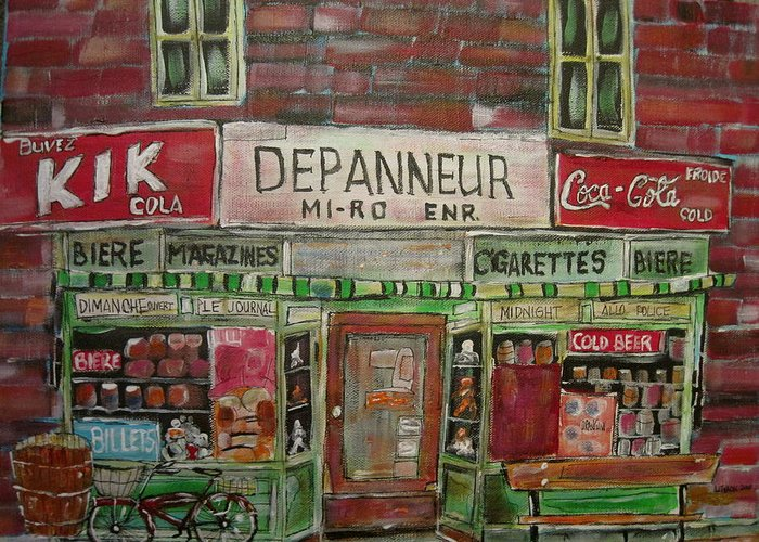 Montreal Greeting Card featuring the painting Depanneur Mi-ro by Michael Litvack