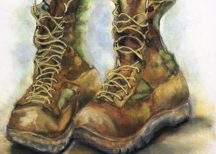 Desert Greeting Card featuring the drawing Desert Boots by Leisa Shannon Corbett