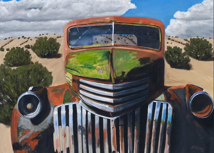 Truck Greeting Card featuring the painting Desert Varnish by Jack Atkins