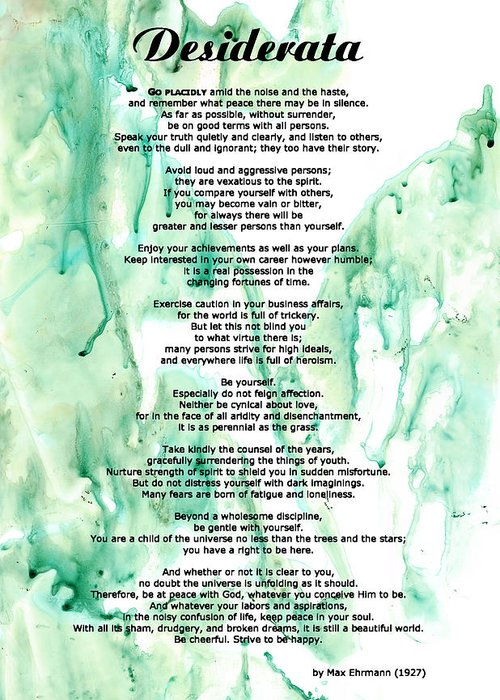 Desiderata Greeting Card featuring the painting Desiderata - Words Of Wisdom by Sharon Cummings