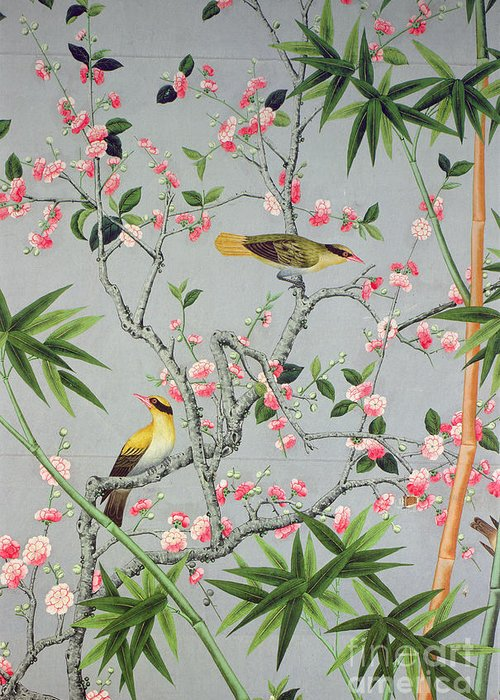 Bird Greeting Card featuring the tapestry - textile Detail Of The 18th Century Wallpaper In The Drawing Room Photograph by John Bethell