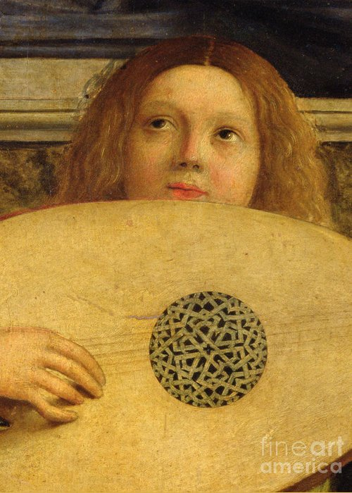 Musical Greeting Card featuring the painting Detail Of The San Giobbe Altarpiece by Giovanni Bellini