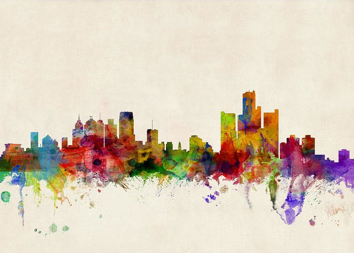 Watercolour Greeting Card featuring the digital art Detroit Michigan Skyline by Michael Tompsett