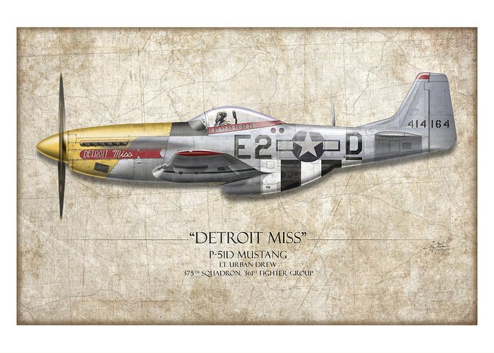 Aviation Greeting Card featuring the painting Detroit Miss P-51d Mustang - Map Background by Craig Tinder