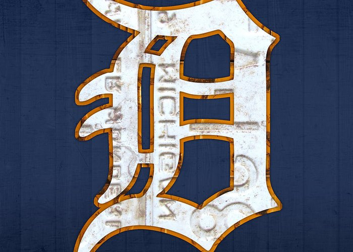 Detroit Tigers Baseball Old English D Logo License Plate Art Sports Michigan License Plate Map Greeting Card featuring the mixed media Detroit Tigers Baseball Old English D Logo License Plate Art by Design Turnpike