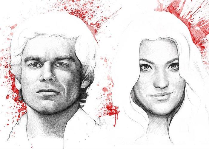 Dexter Greeting Card featuring the drawing Dexter And Debra Morgan by Olga Shvartsur