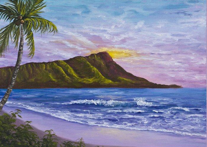 Hawaii Greeting Card featuring the painting Diamond Head by Darice Machel McGuire