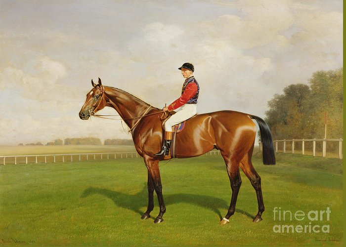 Horse Greeting Card featuring the painting Diamond Jubilee Winner Of The 1900 Derby by Emil Adam