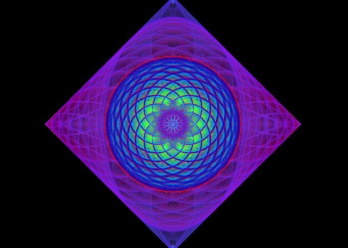 Fractal Greeting Card featuring the digital art Diamond Swirl by Sandy Keeton
