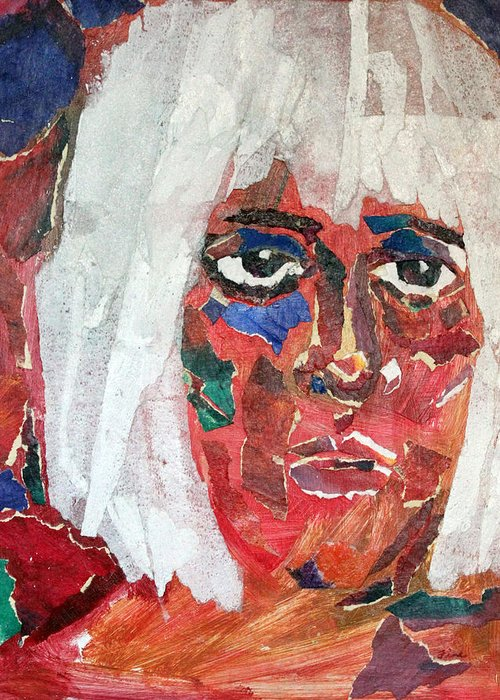 Mixed Media Portrait Greeting Card featuring the mixed media Diane by Diane Fine