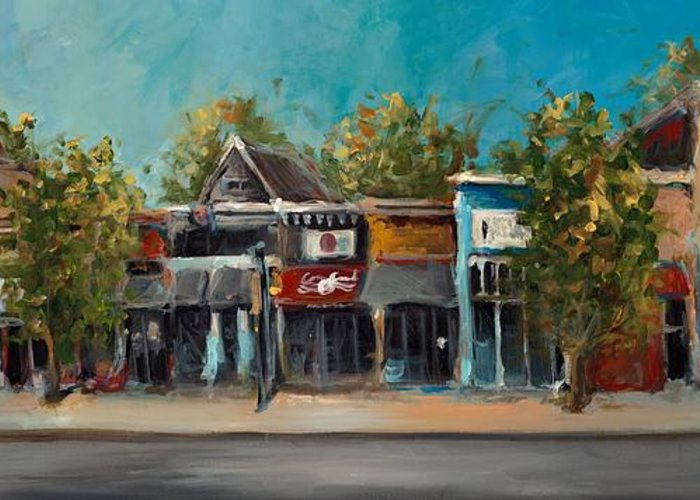 Arkansas Greeting Card featuring the painting Dickson Street by Cari Humphry