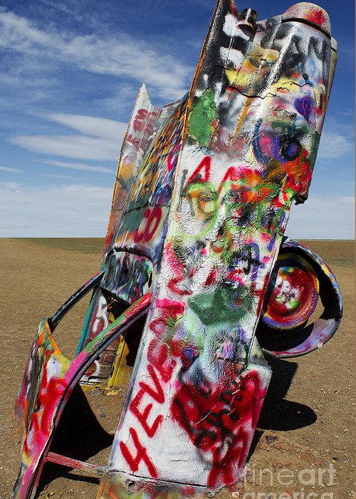 Cadillac Ranch Greeting Card featuring the photograph Did Not Notice The Stop Sign by Elena Nosyreva