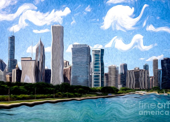 2012 Greeting Card featuring the photograph Digitial Painting Of Downtown Chicago Skyline by Paul Velgos