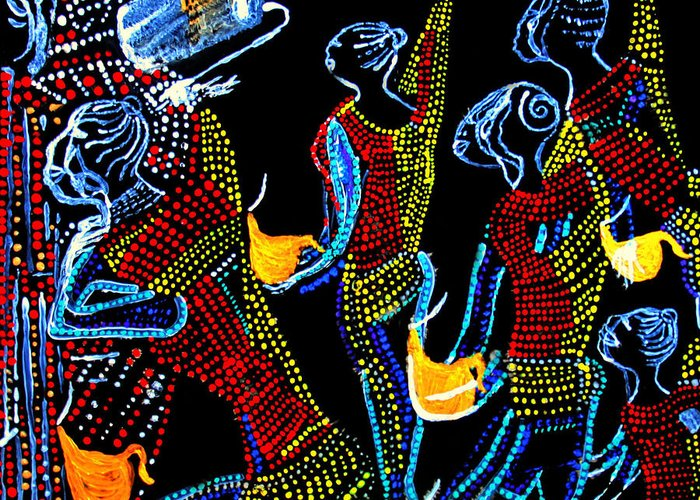 Jesus Greeting Card featuring the painting Dinka Wise Virgins by Gloria Ssali