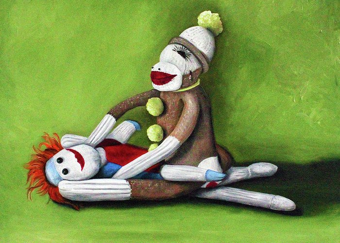 Sock Doll Greeting Card featuring the painting Dirty Socks by Leah Saulnier The Painting Maniac