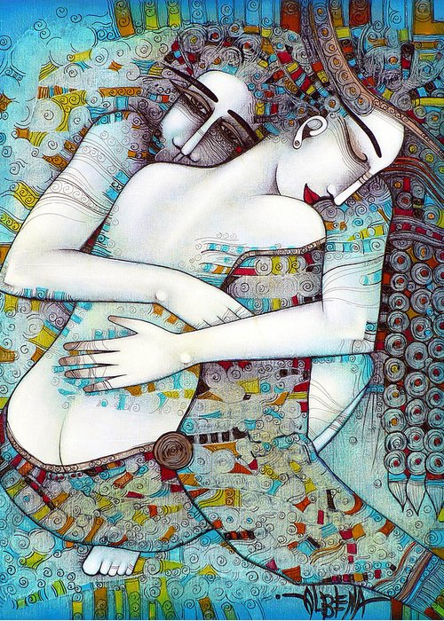 Love Greeting Card featuring the painting Do Not Leave Me by Albena Vatcheva