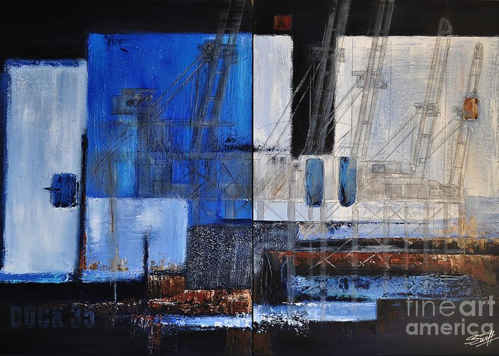 Docks Greeting Card featuring the painting Dock 35 by Sallie-Anne Swift