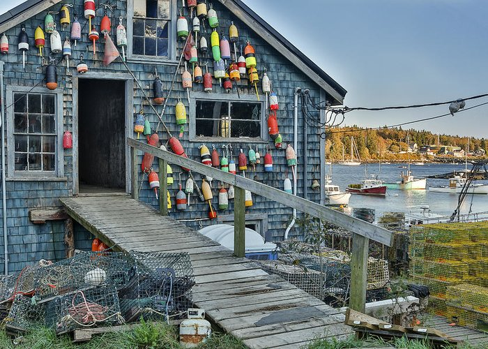 Horzontal Greeting Card featuring the photograph Dock House In Maine by Jon Glaser