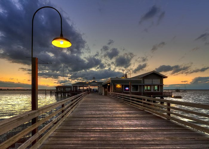 Boats Greeting Card featuring the photograph Dock Lights At Jekyll Island by Debra and Dave Vanderlaan