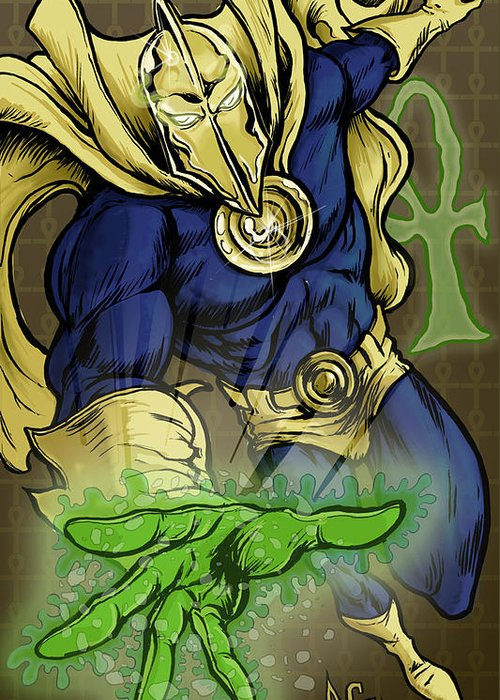 Dr Fate Greeting Card featuring the drawing Doctor Fate by John Ashton Golden