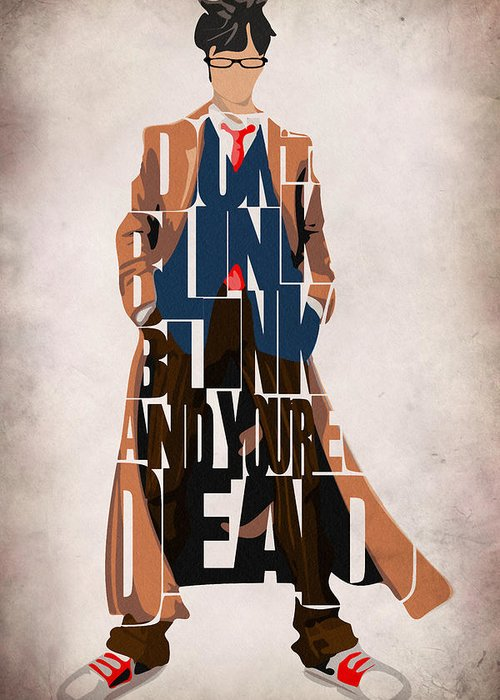 Doctor Who Greeting Card featuring the painting Doctor Who Inspired Tenth Doctor's Typographic Artwork by Ayse Deniz
