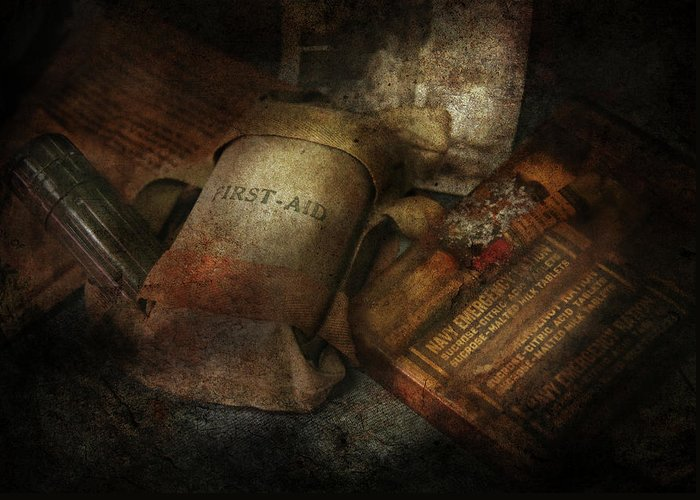 Hdr Greeting Card featuring the photograph Doctor - Wwii Emergency Med Kit by Mike Savad