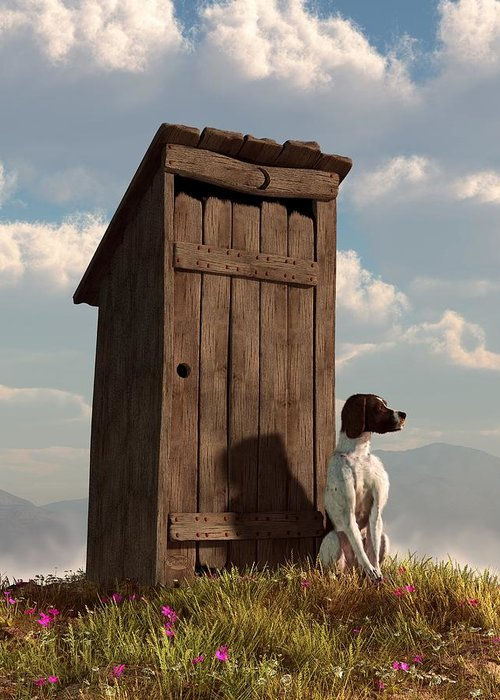 Dog Greeting Card featuring the digital art Dog Guarding An Outhouse by Daniel Eskridge