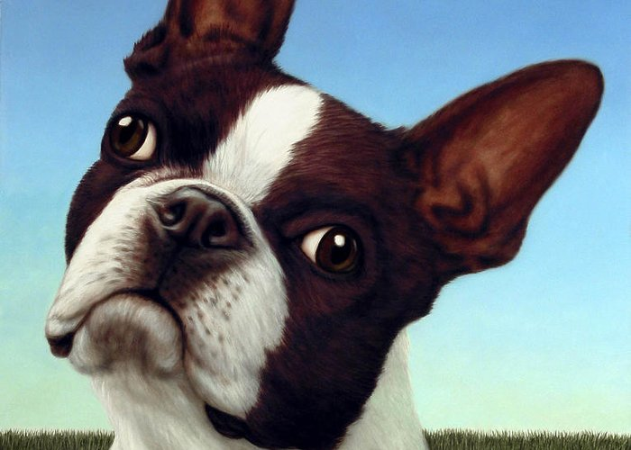 Dog Greeting Card featuring the painting Dog-nature 4 by James W Johnson