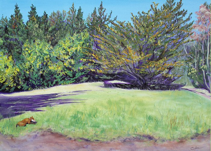 Landscape Painting Greeting Card featuring the painting Dog With Bone In Spring Meadow by Asha Carolyn Young
