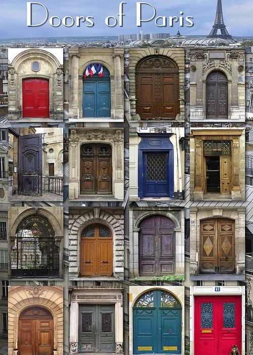 Paris Greeting Card featuring the photograph Doors Of Paris by Heidi Hermes