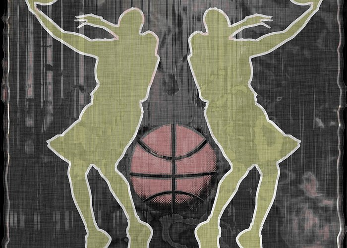 Basketball Greeting Card featuring the digital art Double Hook by David G Paul