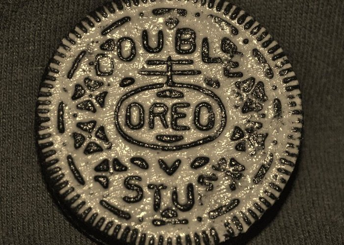 Oreo Greeting Card featuring the photograph Double Stuff Oreo In Sepia Negitive by Rob Hans