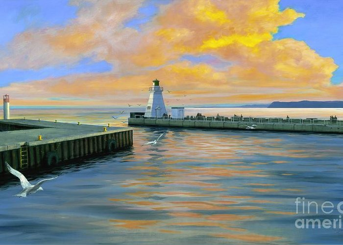 Port Dover Evening Greeting Card featuring the painting Dover Evening by Michael Swanson