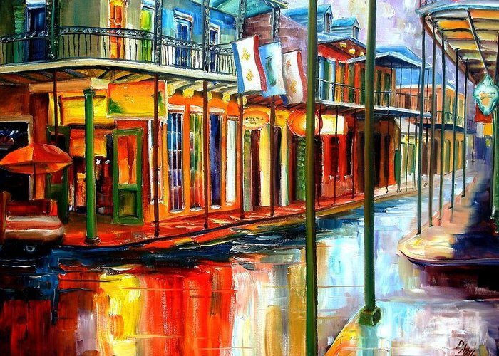 New Orleans Greeting Card featuring the painting Downpour On Bourbon Street by Diane Millsap