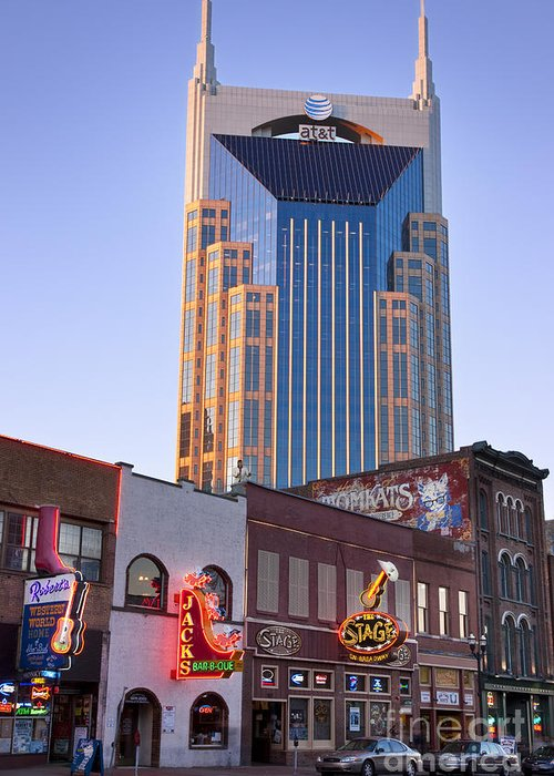At&t Greeting Card featuring the photograph Downtown Nashville by Brian Jannsen