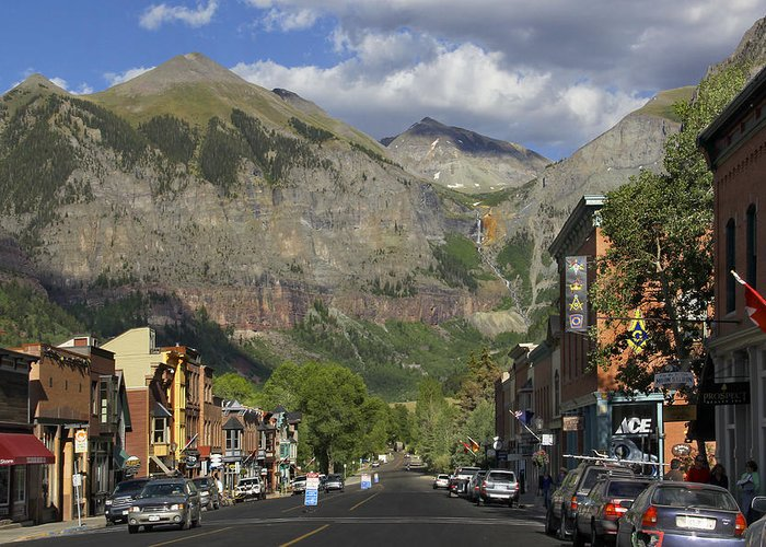 Rocky Mountains Greeting Card featuring the photograph Downtown Telluride Colorado by Mike McGlothlen