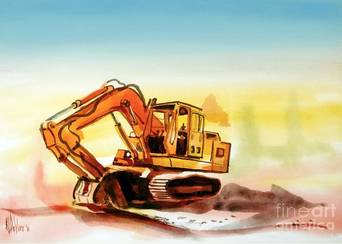 Dozer October Greeting Card featuring the painting Dozer October by Kip DeVore