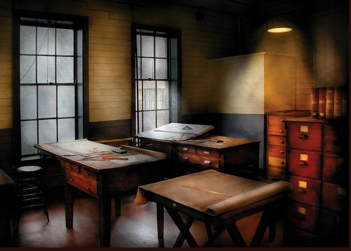 Savad Greeting Card featuring the photograph Draftsman - The Drafting Room by Mike Savad