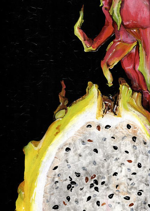 Abstract Greeting Card featuring the painting dragon fruit yellow and red Elena Yakubovich by Elena Yakubovich